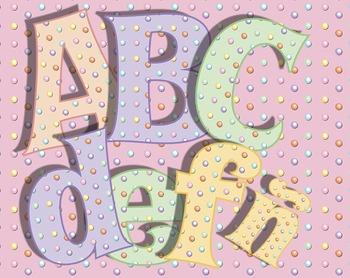 Candy Dot Alphabet • Caps, Lower Case • Vector PDF • 300 D