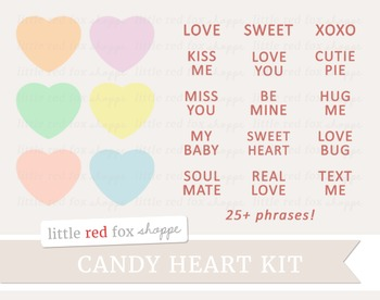Candy Heart Kit Clipart; Valentine's Day