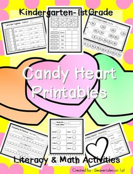 Candy Heart Printables : Valentine's Day Literacy & Math A