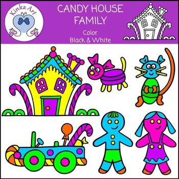 Candy House Car and Family Clip Art
