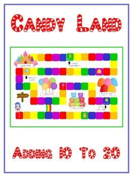 Candy Land - Fun Math Folder Game - Adding 10 to 20 - Comm