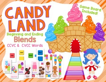 Candy Land Game - Beginning and Ending Blends - CCVC and C