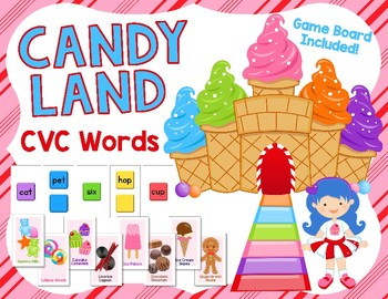 Candy Land Game - CVC Words / Short Vowel Sounds