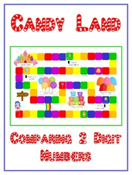 Candy Land Math Folder Game - Common Core - Comparing 2 Di