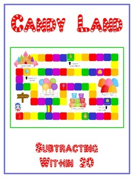 Candy Land Math Folder Game - Common Core - Subtracting 10 to 20