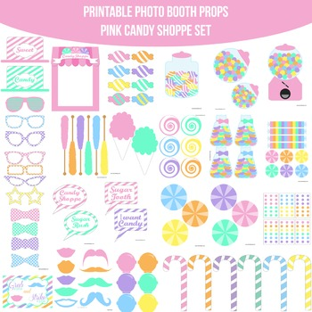 Candy Shoppe Pink Printable Photo Booth Prop Set