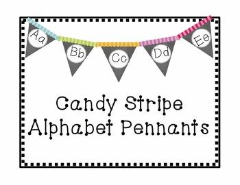 Candy Stripes Chalkboard Alphabet Pennants