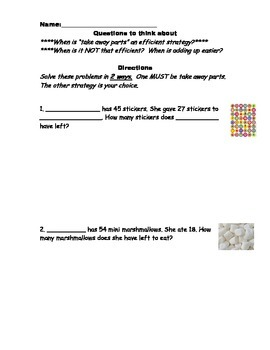 Candy Themed Subtraction Word Problems (take away parts or