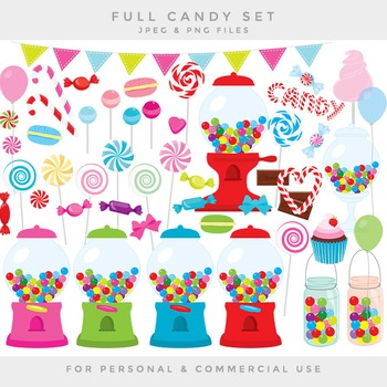 Candy clipart - sweets clip art gumball machine lollipops