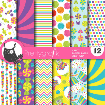 Candy papers, commercial use, scrapbook papers, - PS769
