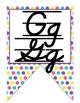 Candy themed D'Nealian manuscript and cursive Alphabet banner