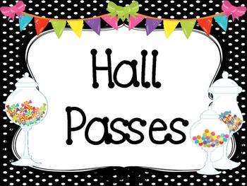 Candy themed Printable Hall Pass Sign and Hall Passes. Cla