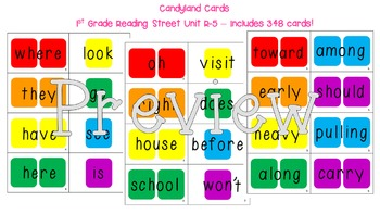Candyland Cards - 1st Grade Reading Street Sight Words (Un