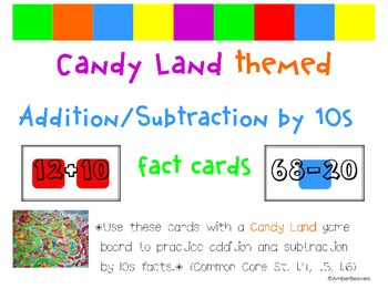 Candyland Cards - Adding and Subtracting Multiples of 10 (