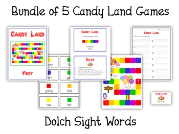 Candyland Sight Word Card Folder Game - 5 Dolch Word Games