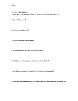 Canterbury Tales - Study Questions - Canon's Yeoman's Tale (AP)