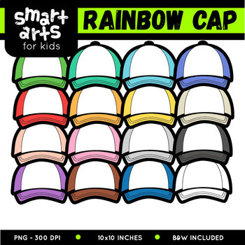 Cap Digital Clipart - Multicolored