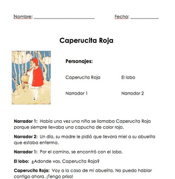 Spanish Reader's Theater--Caperucita Roja (Little Red Ridi
