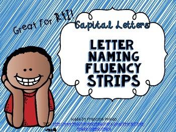 Capital Letter Letter Naming Fluency Strips GREAT FOR RtI!