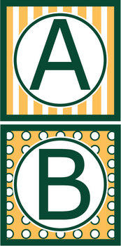 Capital Letters Set - Green & Gold