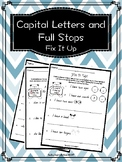 Capital Letters and Full Stops (Queensland Font)- Prep and
