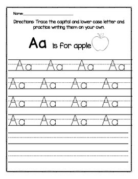Capital and Lower Case Letter Trace Aa-Zz