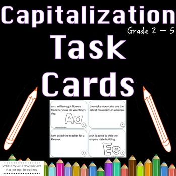 Capitalization Task Cards 2nd, 3rd and 4th  Grade Literacy