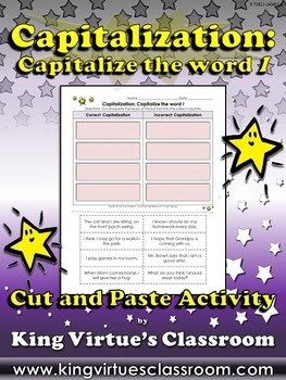 Capitalization: Capitalize the word I Cut and Paste Activi