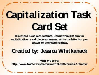 Capitalization Task Card Set