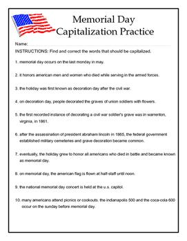 Capitalization practice: Memorial Day