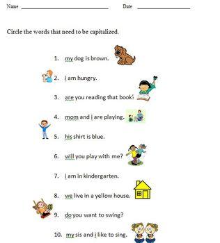 Capitalization worksheet for Kindergarten (1 page)
