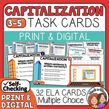 Capitalization Task Cards: 32 Multiple Choice Sentence Cards