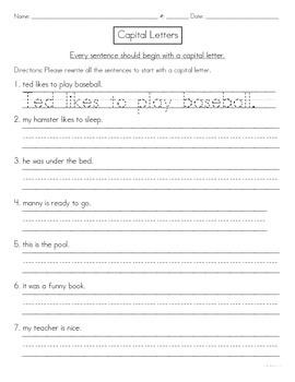 Capitals at the Start of Sentences Worksheet