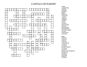 Capitals of Europe Crossword Puzzle