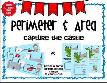 4th Grade Perimeter and Area Task Card Game by Marvel Math