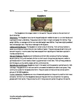 Capybara - Rodent Review Article Information Questions Voc