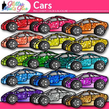 Race Car Clip Art {Rainbow Glitter Transportation Graphics
