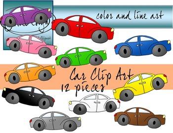 Car Clip Art - Color and Line Art 12 pc set
