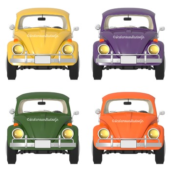 Car Clipart, Retro Commercial Use Graphics, love bug car