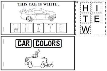 Car Color Words Book