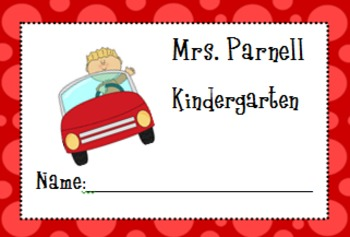 Car Rider Tag- Editable