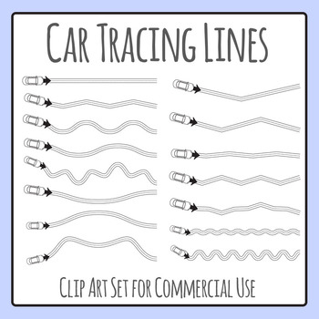 Car Tracing Lines for Fine Motor Control Clip Art for Comm