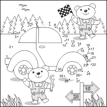 Connect the Dots and Coloring Page with Car and Mechanics,