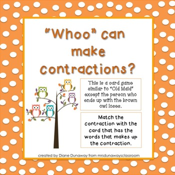"Card Game:  ""Whoo"" can make contractions?"