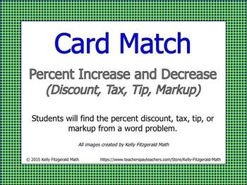 Card Match: Percent Increase and Decrease (Discount, Tax,