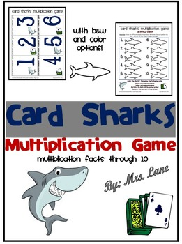 Card Sharks Multiplication Game