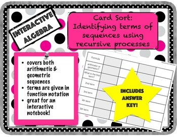 Card Sort: Identify Terms of Sequences Using Recursive Processes