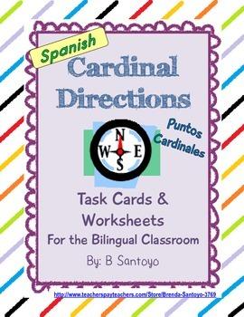 Cardinal Directions/ Puntos Cardinales Task Cards and Work