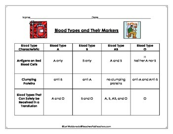 Cardiovascular System: Blood Types and Their Markers Data Table