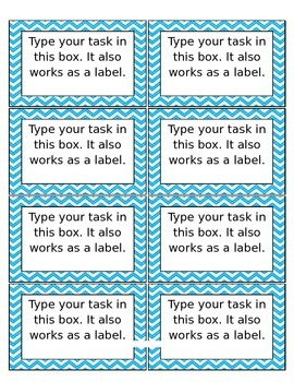 Cards and Labels: Blue Chevron Eighths